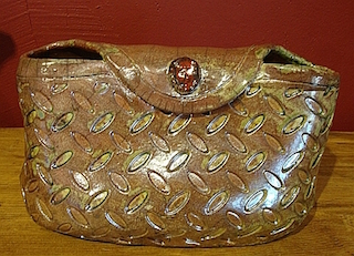 ceramic brown clutch purse