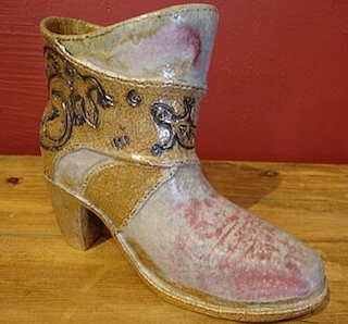 ceramic cowgirl lizard boot