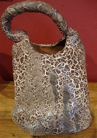ceramic spotted tall handbag