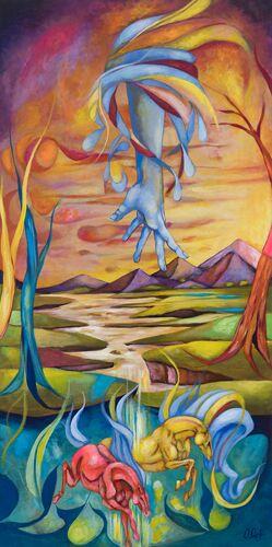 Obalala with Crazy Horses 48x24  12843