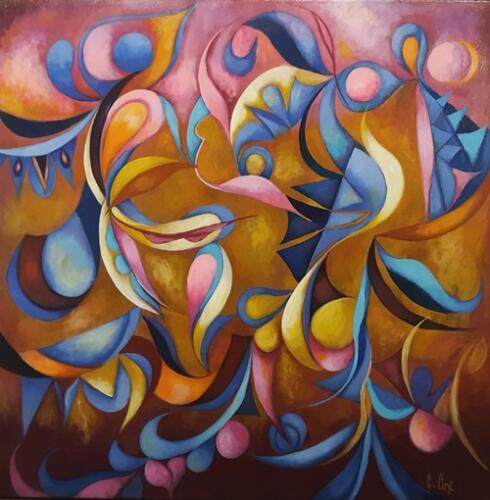 Inca Love Birds 36x36  12841